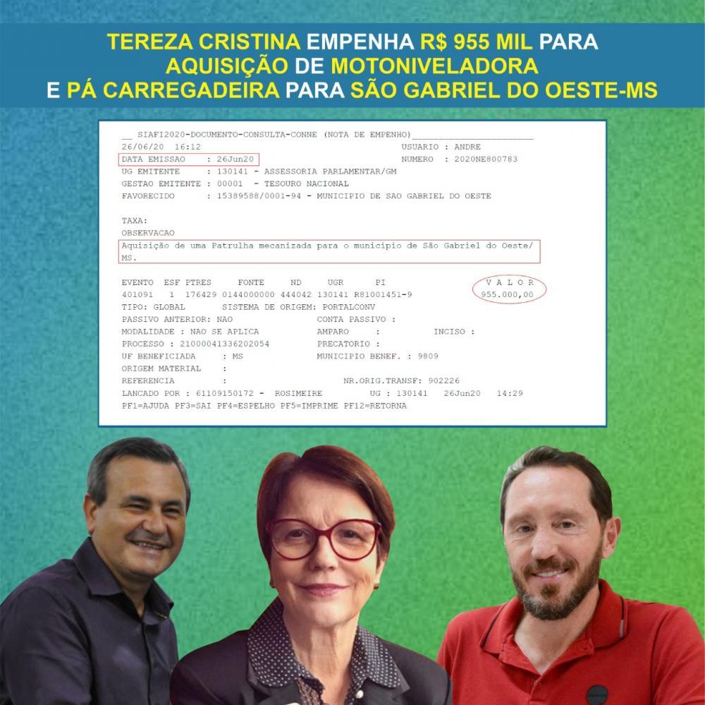 SÃO GABRIEL-MS  Ministério da Agricultura disponibiliza R$ 955 para a compra de uma Motoniveladora e uma Pá Carregadeira